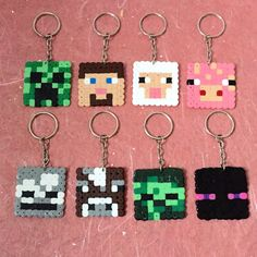 Inspired Pixel Keyrings Minecraft by ZoZoTings on Etsy