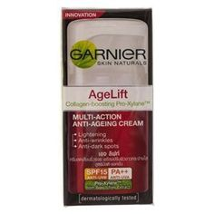 Garnier Age Lift Multi-action Anti-aging Day Cream Spf15 Pa+++ : 50ml. by Garnier. $35.00. Muti-Action Anit-Agening Cream. Lightening. Anit-Wrinkle Anti-Darl spots. Age Lift Collagen-boosting Pro-Xytane. Garniger Skin Naturals. Visible results :   . Immediately skin is more radiant and smoother . Skin looks younger and more luminous . In just 4 weeks, wrinkles and dark spots are, as if, lifted away, skin is visibly fairer and younger looking.     The Proven Power of :   ?Pro-...