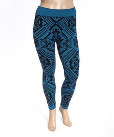 Look what I found on #zulily! Poplooks Peacock Geometric Leggings - Plus by Poplooks #zulilyfinds