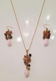 Pink opal & tourmaline earrings $48  necklace $48 by Raised By Wolves NYC ❤ #pink #PinkEarrings #Opal #PinkOpal #PinkOpalEarrings #PinkOpalNecklace #earrings #necklace #RaisedByWolvesNYCJewelry