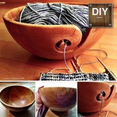 DIY Wooden Yarn Bowl. I hoped this might work. It's nice to see proof. The pottery ones I've seen are so small!