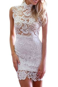 Women's Turtleneck Sleeveless Lace Hollow-out Mini Vintage  white or red, priced under 26. Def Planet