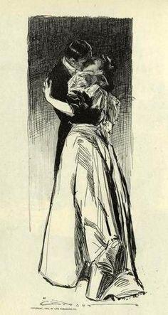Charles Dana Gibson (1867 – 1944) - Hombre besando a una mujer