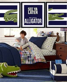 Alligator Print Set  - Nursery or Toddler Room Decor - Personalized Gator Print - 8  x 10.