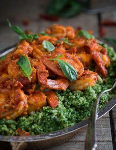 Gorgeous Shrimp Romesco preparation on bed of Pesto Cous Cous.  Simple, beautiful, delicious!  Kudos #RunningtotheKitchen #BBSuperFresh