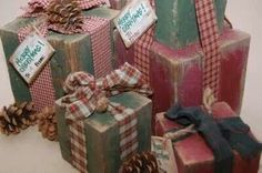 Wooden blocks made to look like presents