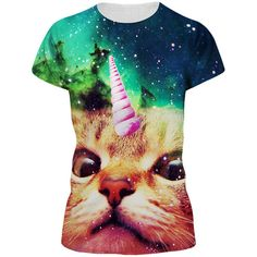 Womens Galaxy Unicorn Cat 3D Printed Crewneck T-Shirt Green ($9.59) ❤ liked on Polyvore featuring tops, t-shirts, green, green tee, crew-neck tee, galaxy cat t shirt, galaxy top and crewneck t shirt