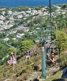 Enjoying the Seggiovia Chairlift ride from Anacapri to Monte Solaro.