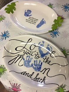 5mnth old hand and footprint platters ❤️❤️❤️ #justaddpaintak #paintpottery
