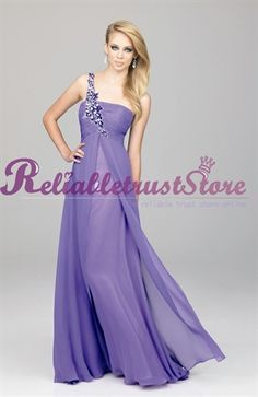 Elevated A line Lilac One Shoulder Watteau train Beading Chiffon Prom Dress-$176.98-ReliableTrustStore.com