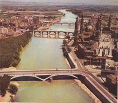 El Pilar, el Ebro y sus puentes. Ebro, City Photo, Outdoor Decor, Town Hall, 19th Century, Zaragoza, Antique Photos, Cities, Fotografia
