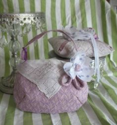 Lavender Lily of the Valley Fabric and Vintage Hanky Flower Girl Bag