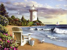 looking at light houses and sitting by the ocean after I've just picked a bucket of goodies