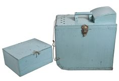 Vintage Handmade Ice Fishing Tackle And Tip-Up Box With Insert