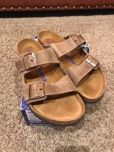 da4a067bc414d8 NIB Birkenstock Arizona Sandals Soft Footbed EU 44 Men s 11 Regular Fit  Waxy Leather Upper