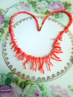 Vintage Light Salmon Pink Dainty Branch Coral Necklace from Hawaii by Holliezhobbiez on Etsy