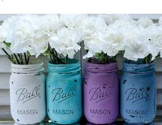 Rustic * Shabby Chic Wedding Ideas Turned Into Everyday Decor Inspiration! Peacock Inspired Painted & Distressed Mason Jars Turned Vases * Fabulous Jeweltones for Dreamy Decor!