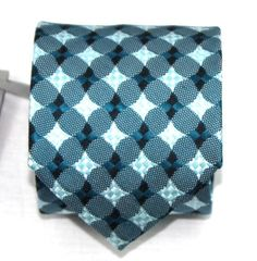$260 NWT Tom Ford Blue Green Geometric Pattern 100% Silk Neck Tie Made in Italy #TomFord #NeckTie