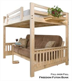 Full Futon Bunk Bed Over Freedom Frame Unfinished