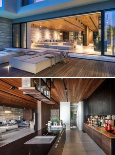 Large sliding glass doors of the formal lounge, kitchen and dining area open up the space to the space deck and pool outside.