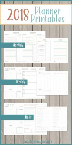 Everything you need to get your 2018 planner started. Includes 4 dated monthly calendars, monhtly planning pages, Monday and Sunday start weekly layouts, daily pages, and three matching note pages.