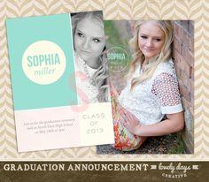 Graduation Announcement High School Seniors Template for Photographers