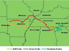 The Trail of Tears, the long journey Cherokee Indians took to get to Oklahoma.