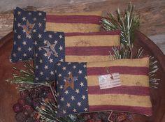 3 Primitive Americana USA Flags July 4 Patriotic Ornies Bowl Fillers  #Americana #ChooseMoosePrimitiveDesigns