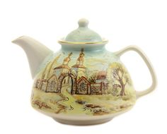 Handmade ceramic teapot with an image of a church, Special Price $38.00. Catalog of St Elisabeth Convent. #catalogofgooddeed #teapot #handmade #gift