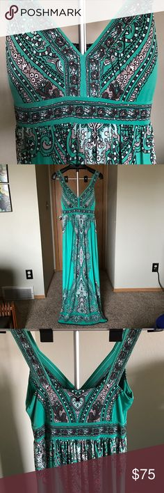 International Concepts gown Beautiful flowing floor length gown. Green color with light green, brown, and light brown accent colors and small sparkles. Beautiful design. 95% polyester, 5% spandex. Worn once! INC International Concepts Dresses Maxi