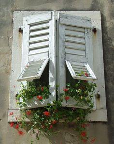 White Shutters, Window Shutters, Window Boxes, Old Windows, Windows And Doors, Garden Windows, Window Dressings, Through The Window, Old Doors