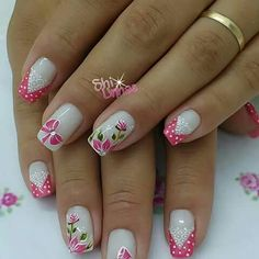 The 90 Vigorous Early Spring Nails Art Designs are so perfect for this Season Hope they can inspire you and read the article to get the gallery. Fancy Nails, Pink Nails, Cute Nails, Pretty Nails, Spring Nail Art, Nail Designs Spring, Nail Art Designs, French Tip Nails, Creative Nails