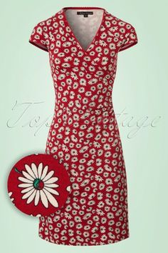 King Louie - Summer Meadow Cross Dress in Icon Red Retro Fashion 60s, Vintage Fashion, Vintage Tops, Vintage Dresses, Modest Fashion, Fashion Dresses, King Louie, Clothing Patterns, Clothing Ideas