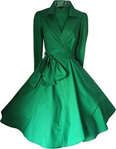 VINTAGE 50's STYLE ROCKABILLY / SWING / PIN UP COTTON WRAP EVENING PARTY DRESS SIZES 6 - 24 (6, EMERALD GREEN) look for the stars http://www.amazon.co.uk/dp/B00OQHIUGO/ref=cm_sw_r_pi_dp_95H.vb01QHTMM