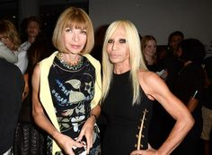 Anna Wintour poses with Donatella Versace at the Versus Versace fashion show during Mercedes-Benz Fashion Week in New York on Sept. 7, 2014.