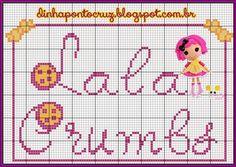 Salve o monograma completo aqui: http://dinhapontocruz.blogspot.com.br/2014/07/monograma-lalaloopsy-ponto-cruz.html