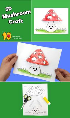 Mushroom Craft videos Mushroom Craft - How To Make Things Tent Craft, 3d Craft, Art N Craft, Fall Crafts, Diy And Crafts, Crafts For Kids, Arts And Crafts, Paper Crafts, Diy Paper