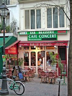 Rita Crane Photography: Paris / Bistro / Cafe / Restaurant / Bicycle / Lamp post / Historic Cafe / Cafe Concert / brasserie / red / Bar le Baltard, Marais District, Paris | Flickr - Photo Sharing!