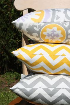 Yellow and Gray Pillow Trio.