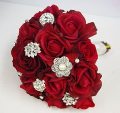 Red Silk Brooch Wedding Bouquet  Natural Touch Roses by Wedideas, $142.00