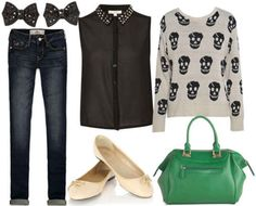 Black collar shirt, printed grey sweater, jeans, green satchel, nude flats, bow earrings