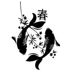 Peces koi chino, pegatinas de vinilo, etiqueta engomada, H = 50cm, W = 50cm: Amazon.es: Coche y moto