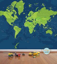 Worldmap Mural Decal, Super Sized World, 102X82 Inches, Nursery Decor, Baby Room, Play room ideas, World Travel Art
