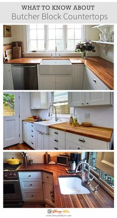 The timeless style of butcher block countertops looks great in farmhouse kitchens and modern kitchens alike. http://www.diaryofadiyer.com/content/butcher-block-countertops