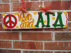 ALPHA GAMMA DELTA Wall Hanging Handpainted Peace by TWOPINKDOTS, $18.00