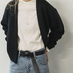 Simplification #BeOakandFort Cardigan 1776 TShirt 2249 Jean 1453 Necklace 2061 Shop the Look | Link in Bio