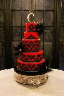 Wedding Cakes Red and Black Wedding Cake I think I really like this cake, but Im not sure. - Red fondant with black buttercream stenciling.all had a chocolate theme. Steaming the red helped give the deep red color. My favorite cake I've done all year! Gothic Wedding Cake, Gothic Cake, Black Wedding Cakes, Purple Wedding, Damask Wedding, Cake Wedding, Pretty Cakes, Beautiful Cakes, Amazing Cakes