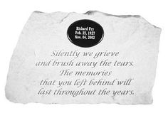 Kayberry 58821 Silently we grieve...for local engraving by Kayberry. $56.36. Kay Berry products are made of cast stone in Ireland. They are made to be weatherproof & guaranteed. Great Gift Idea.. Dimensions: 27.9 x 45.7 cm.. Made in Ireland. With blank marble plaque.. Silently we grieve and brush away the tears. The memories that you left behind will last throughout the years. With blank marble plaque. Dimensions: 27.9 x 45.7 cm. Kay Berry products are made of cast stone i...