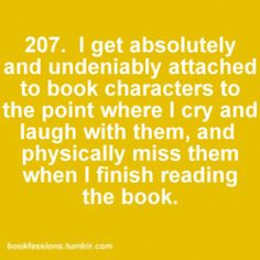 Bookfessions #207: Character attachment. TOTALLY TRUE