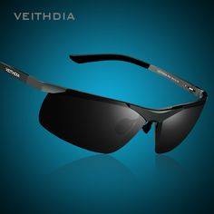 VEITHDIA Brand Men's Polarized Sunglasses Rimless Rectangle Driving Mirror Sport Mens Sun Glasses For Men 6501